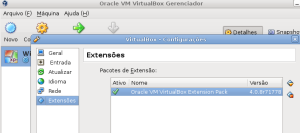 Pacote de extensão do VirtualBox